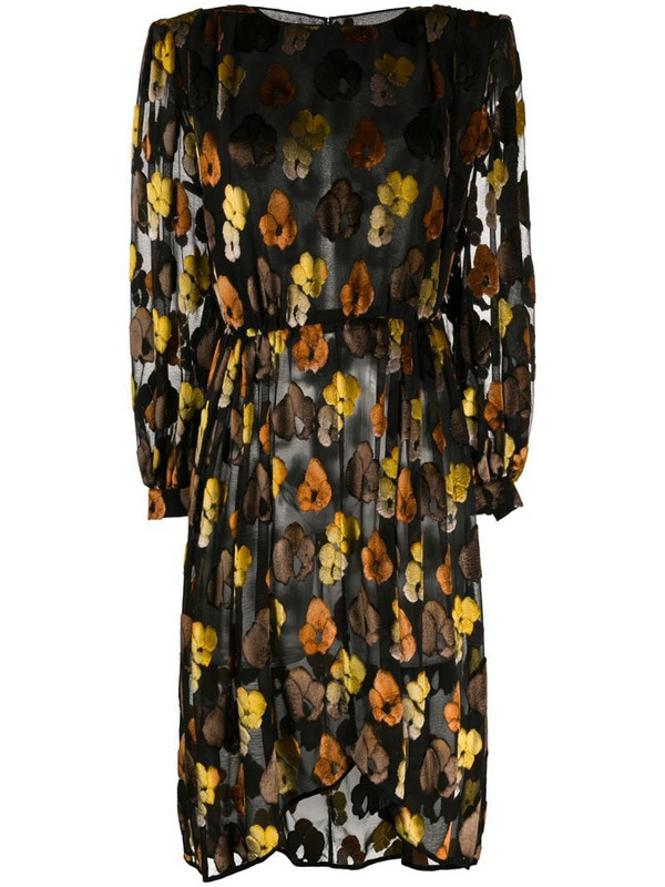Valentino Pre-Owned 1980's floral long-sleeved dress in black