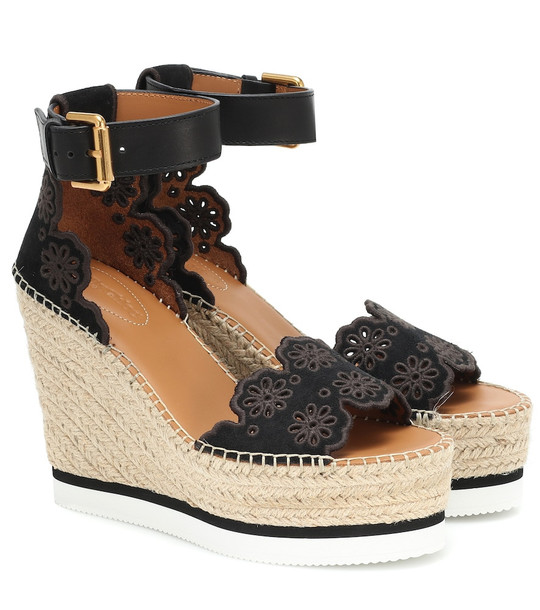 See By Chloé Glyn Wedge espadrille sandals in black