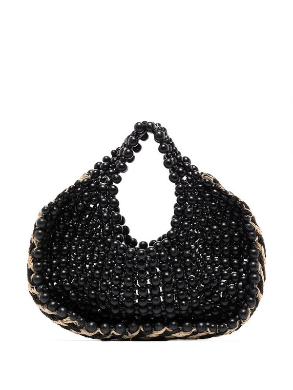 Aranaz two-tone beaded tote bag in black
