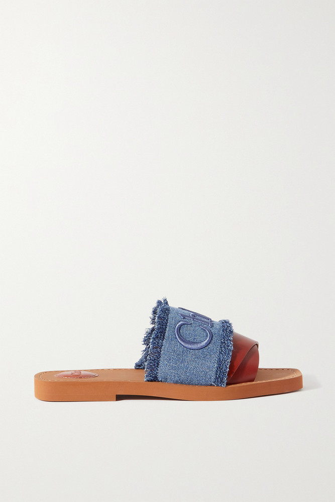 CHLOÉ CHLOÉ - Woody Frayed Logo-embroidered Denim And Leather Slides - Blue