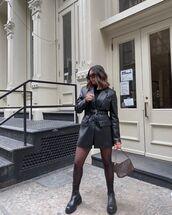dress,black blazer,leather dress,blazer dress,black boots,timberlands,bag,black turtleneck top
