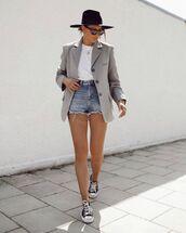 shorts,denim shorts,sneakers,blazer,white t-shirt,hat