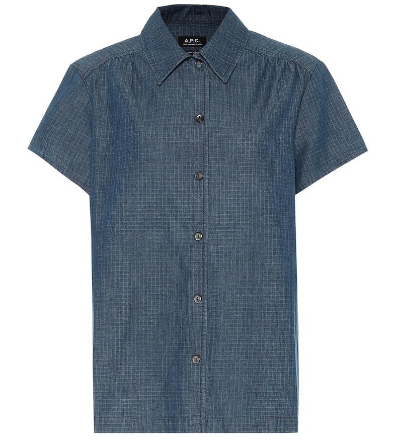 A.P.C. Cléo checked denim shirt in blue