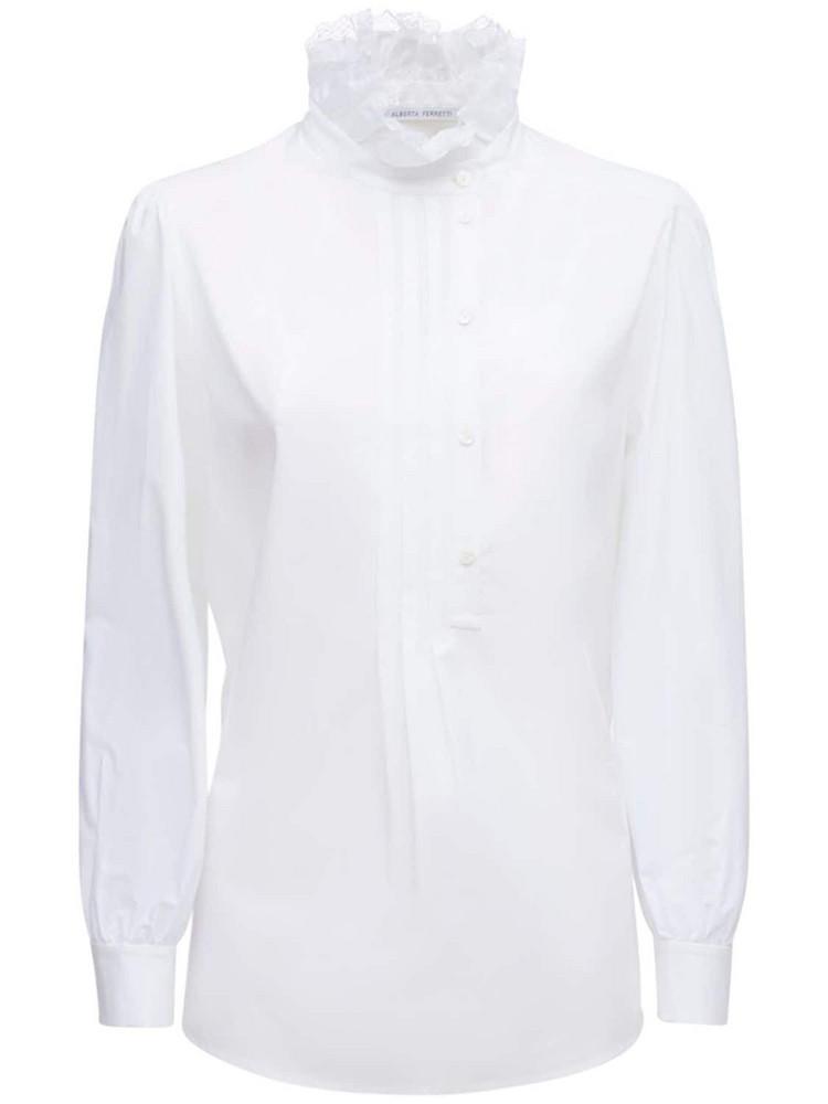 ALBERTA FERRETTI Cotton Poplin Rouched Collar Shirt in white
