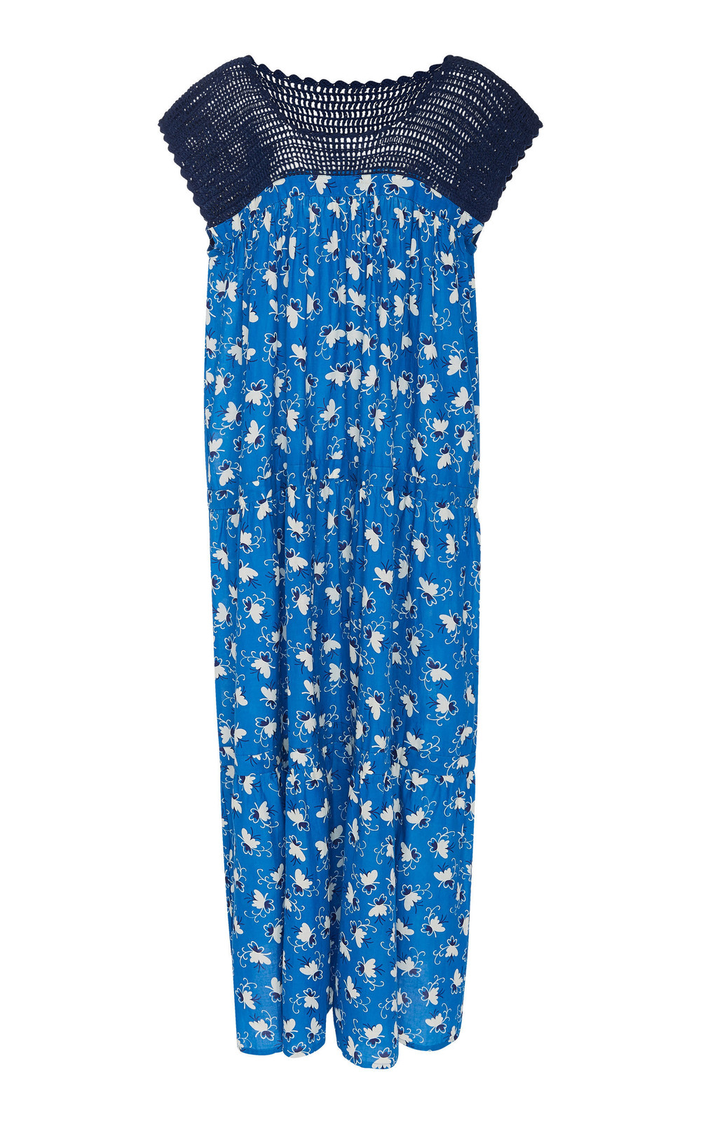 Warm Shade Printed Cotton Dress in blue