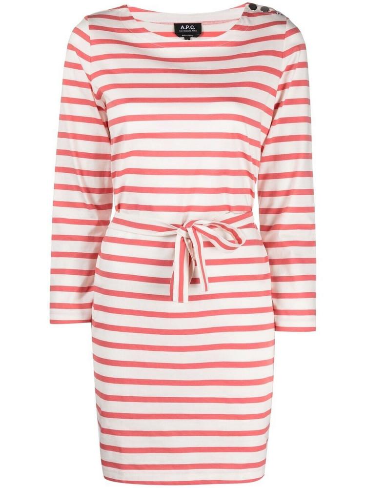 A.P.C. A.P.C. striped long-sleeve dress - Pink
