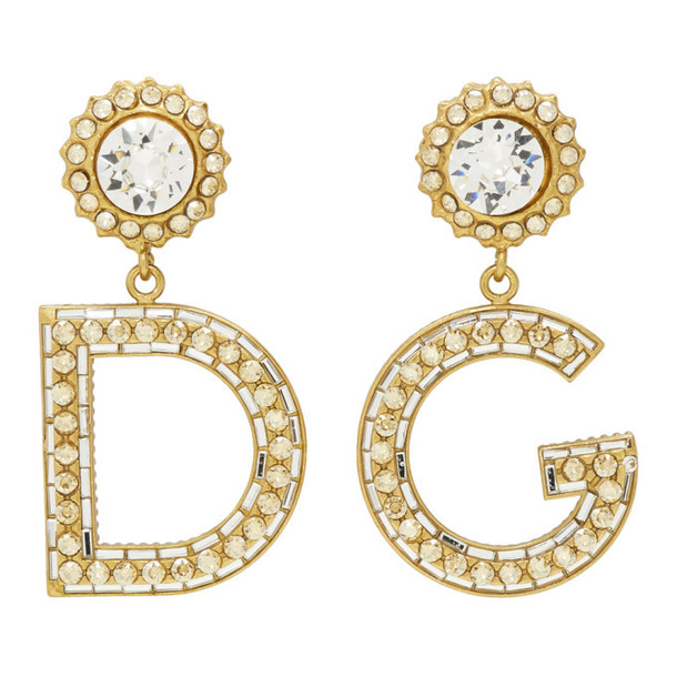 Dolce and Gabbana Gold DG Strass Earrings