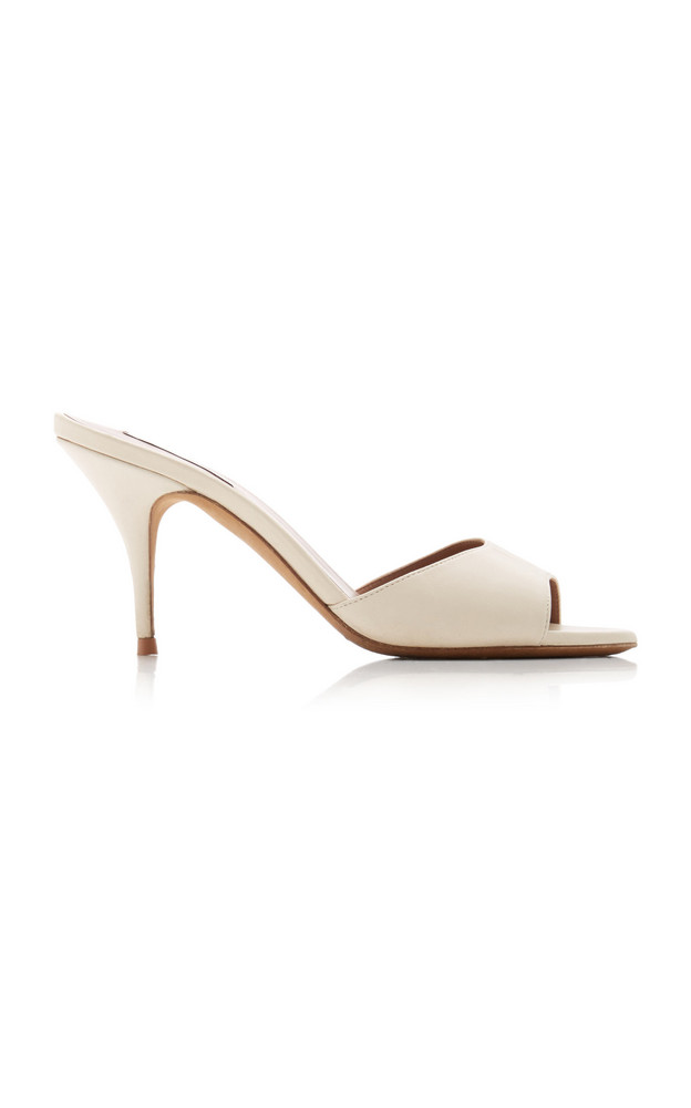 Tabitha Simmons Jude Leather Open-Toe Mules in ivory