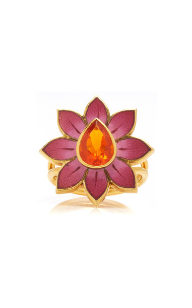 Holly Dyment Eden pink and white enamel flower ring