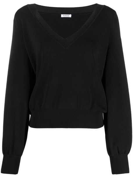 P.A.R.O.S.H. fine-knit v-neck jumper in black
