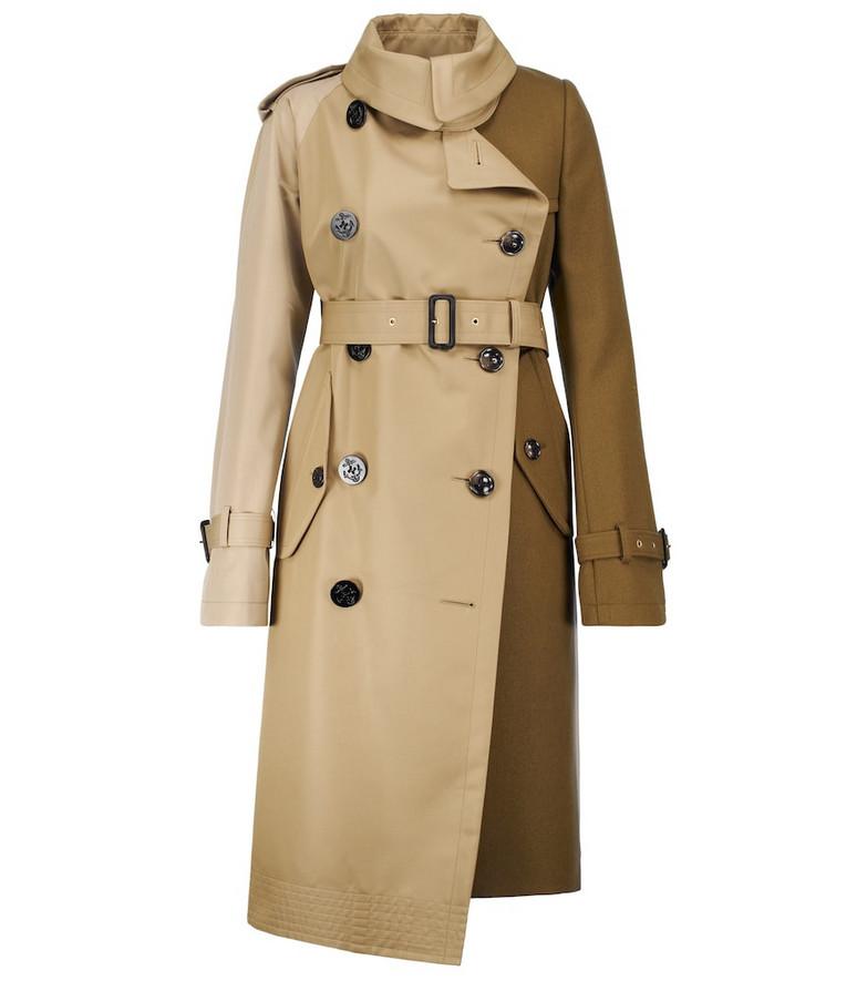 sacai Deconstructed trench coat in beige