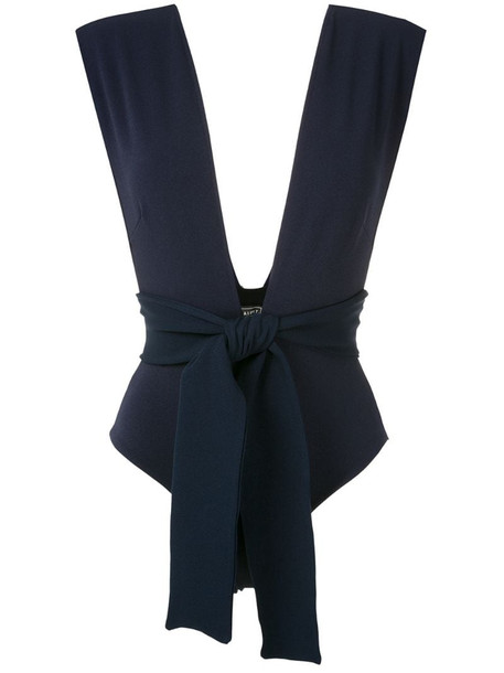 Haight tie-front V-neck swimsuit in blue