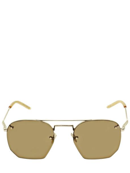 SAINT LAURENT Sl 422 Hexagonal Metal Sunglasses in brown / gold