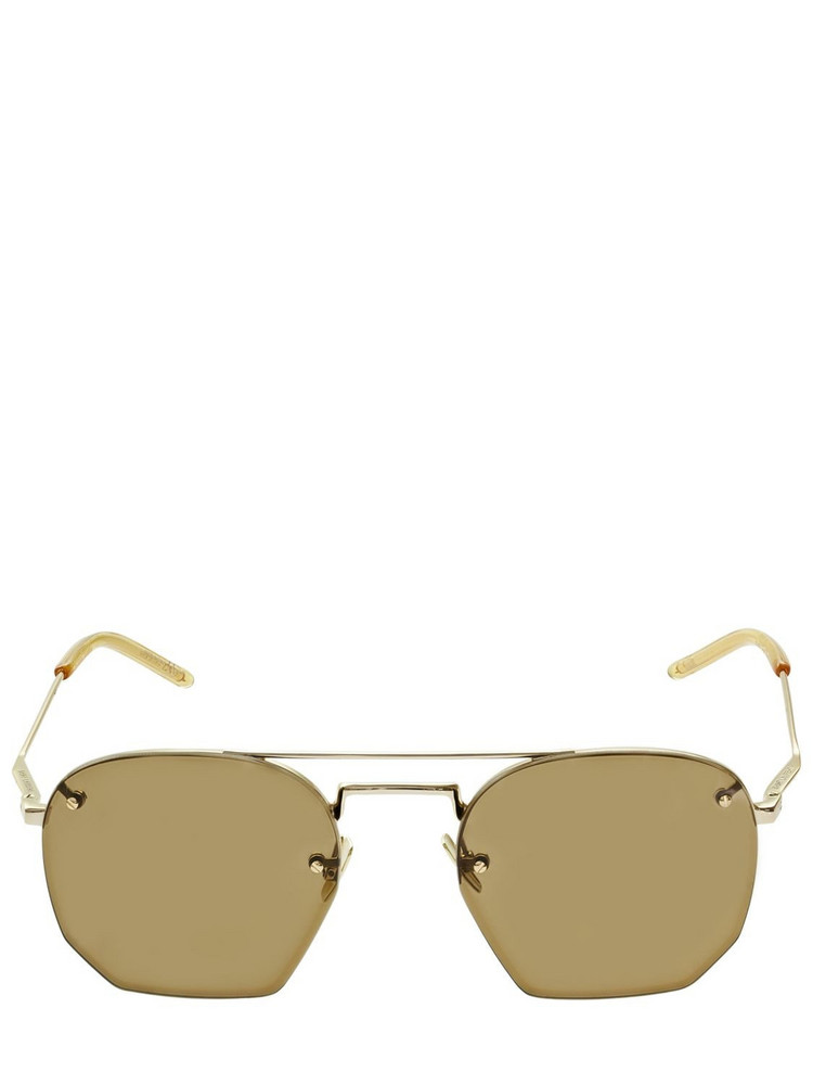SAINT LAURENT Sl 422 Hexagonal Metal Sunglasses in brown / gold