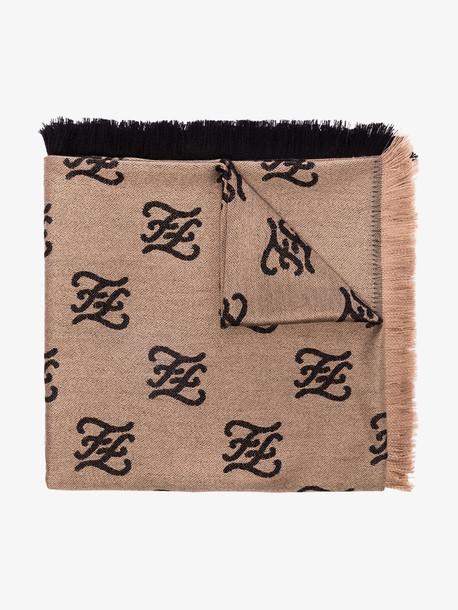 Fendi brown Karligraphy shawl scarf