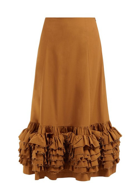 Molly Goddard - Nora Ruffled Cotton Skirt - Womens - Brown