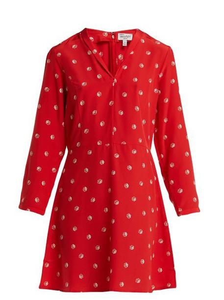Hvn - Lou Dice Print Silk Dress - Womens - Red Print