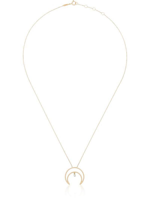 Persée 18kt yellow gold crescent moon diamond necklace