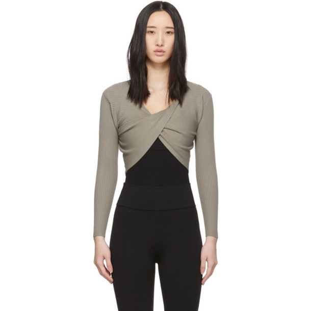 Live the Process Taupe Knit Cross Body Sweater