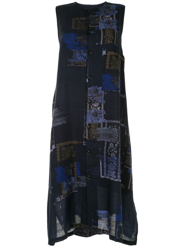 Y's abstract print knitted dress in blue