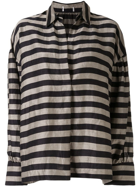 Rebecca Vallance Nautique stripe print shirt in grey