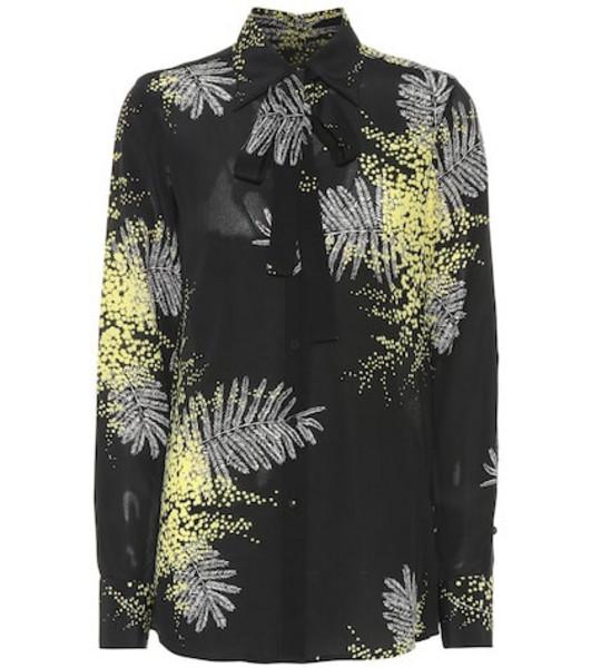 Valentino Printed silk shirt in black
