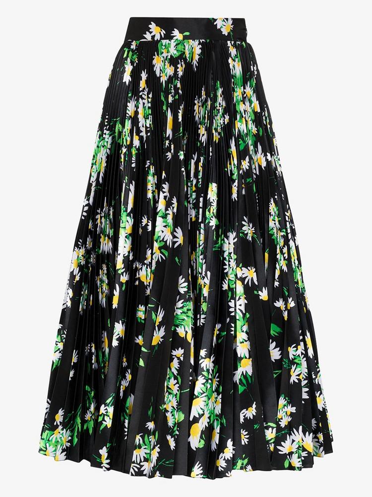 Richard Quinn high-waisted floral pleated maxi skirt in black