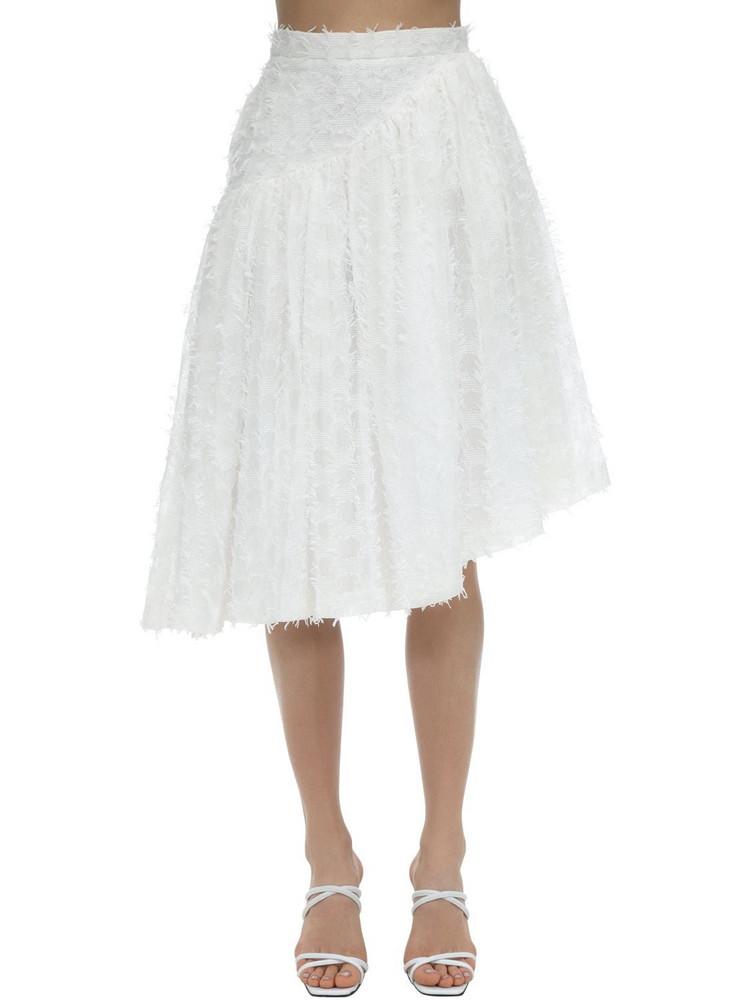 PUSHBUTTON Asymmetrical Shirring Skirt in white