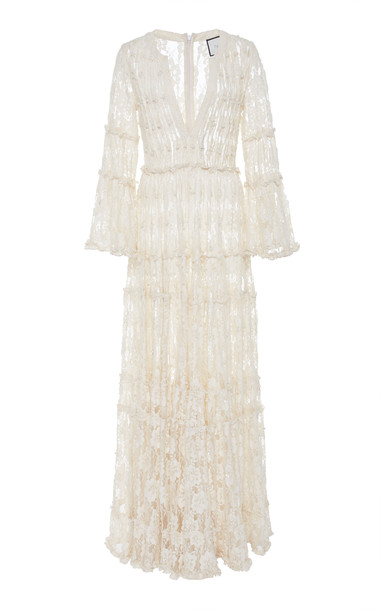 Alexis Alvin Beaded Lace Maxi Dress Size: M in ivory