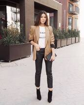 pants,black leather pants,capri pants,black boots,ankle boots,heel boots,black bag,blazer,white t-shirt