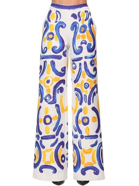 MOSCHINO Printed Duchesse Wide Leg Pants in white / multi
