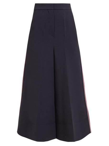Roksanda - Hasani Wide Leg Cady Trousers - Womens - Navy Multi