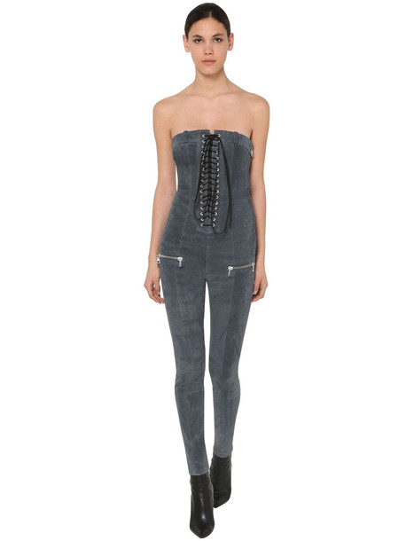 UNRAVEL Lace Up Stretch Suede Jumpsuit in blue