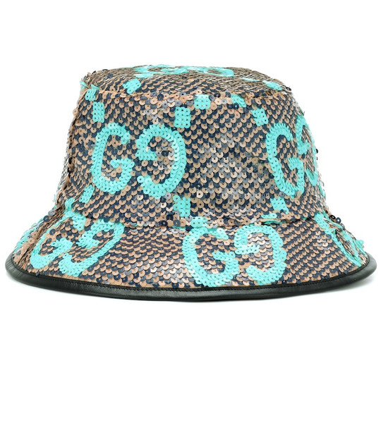 Gucci Sequinned bucket hat in beige