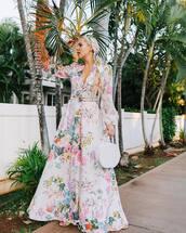 dress,white dress,floral dress,maxi dress,long sleeve dress,white bag,belted dress