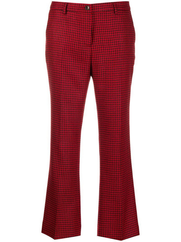 Pt01 houndstooth cropped trousers in red