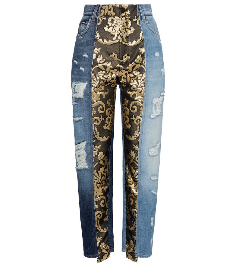 Dolce & Gabbana High-rise brocade straight jeans in blue