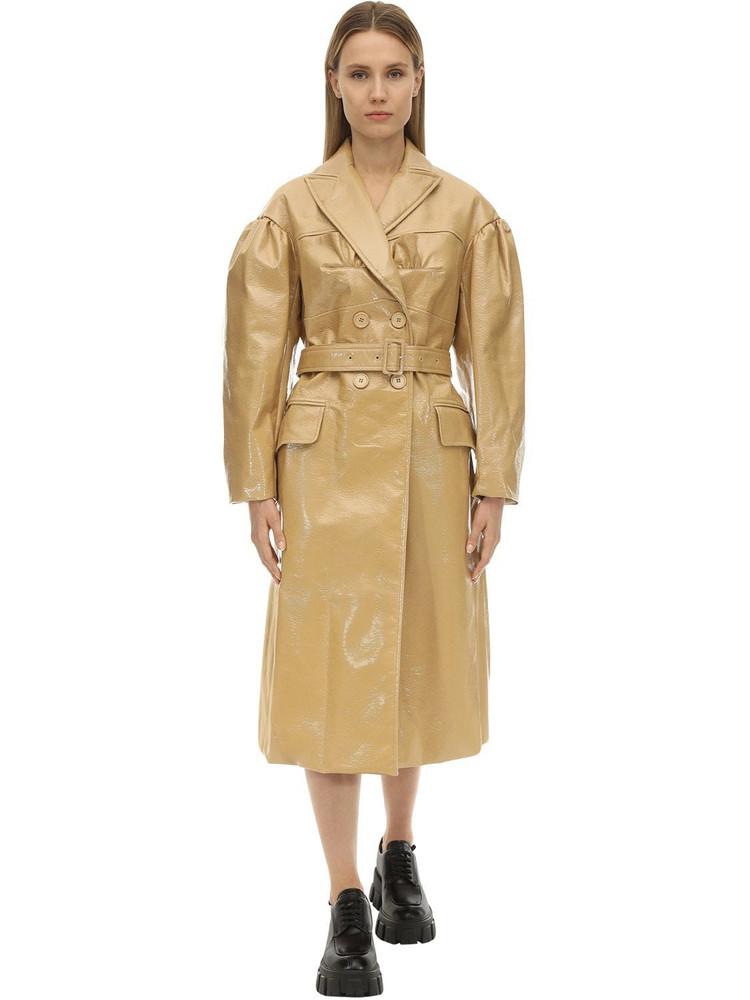 SIMONE ROCHA Double Breast Laminate Felt Bustier Coat in tan
