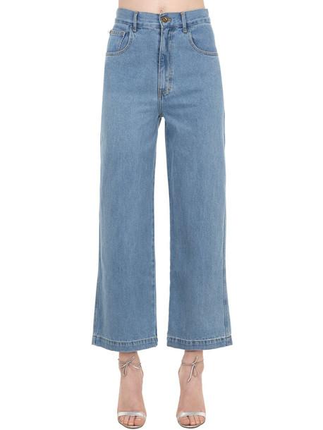 NANUSHKA Marfa Wide Leg Cotton Denim Jeans in blue
