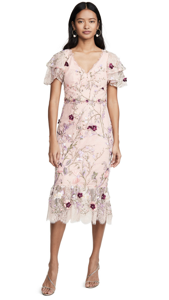 Marchesa Notte Embroidered Lace Cocktail Dress in blush