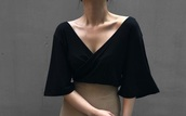 blouse,shirt,black shirt,formal,formal wear,evening outfits,low cut,low v cut,bell sleeves,mid sleeves