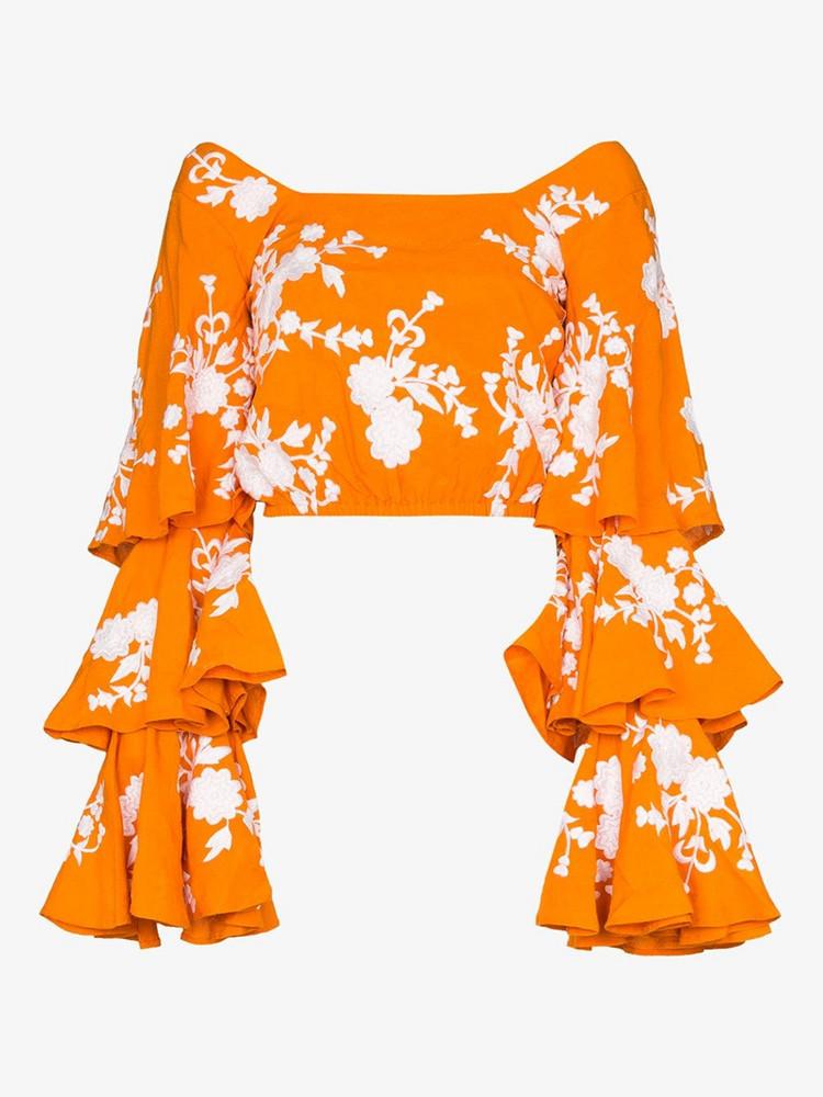 All Things Mochi MOCHI GIANNAH TOP SQR NK TRD LS CRPD CRS in orange