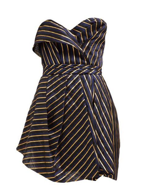 Alexandre Vauthier - Strapless Striped Organza Mini Dress - Womens - Navy Multi