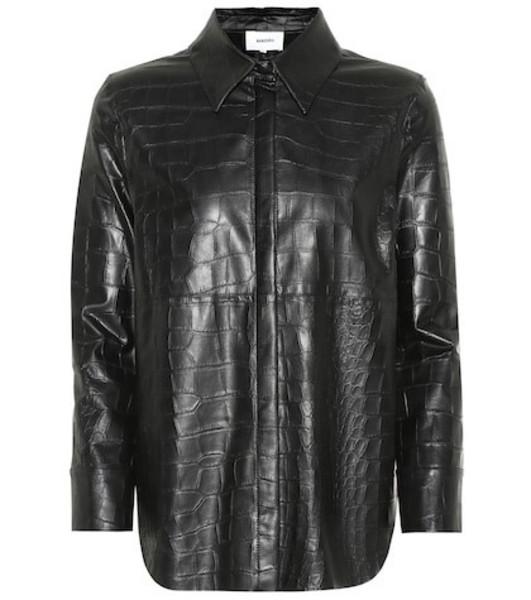 Nanushka Naum croc-effect faux leather shirt in black