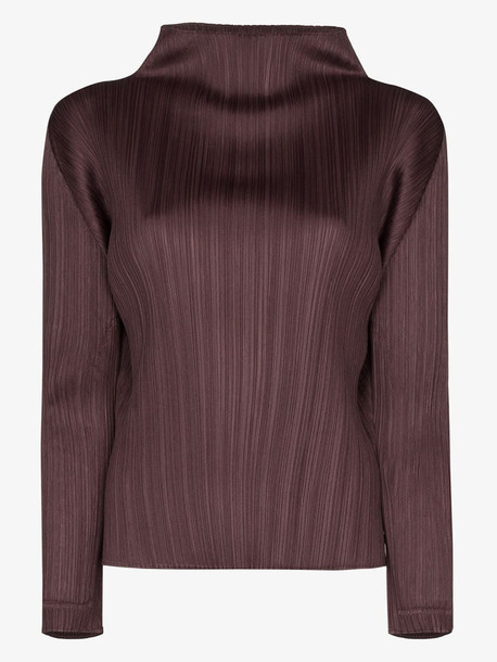 Pleats Please Issey Miyake high neck plissé top in purple
