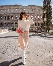 skirt,midi skirt,high waisted skirt,polka dots,knee high boots,white boots,white sweater,turtleneck sweater,zara