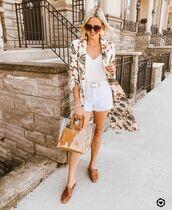 shorts,white shorts,denim shorts,transparent  bag,white top,tank top,kimono,floral,mules