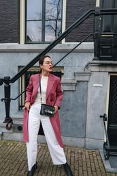 style scrapbook,blogger,jeans,coat,shoes,top,bag,red coat,spring outfits
