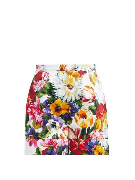 Dolce & Gabbana - Floral Print High Waisted Cotton Shorts - Womens - White Multi
