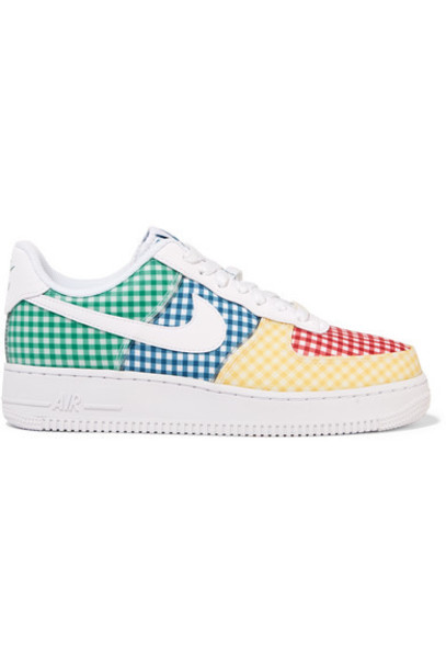 Nike - Air Force 1 Leather And Pvc-trimmed Gingham Canvas Sneakers - Blue